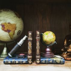 Globe and Telescope Book Ends