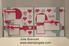 Julie Brancart, www.stampingala.com, Scrapbook layout featuring Stampin Up products and Love Blossoms DSP. Details on my blog.
