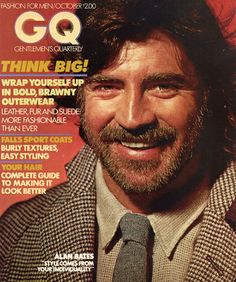 The GQ Cover October 1978 .with British actor, Alan Bates. This one was my all-time favorite. Gq Magazine Covers, Best Fashion Magazines, Alan Bates, Beard Boy, Oliver Reed, Online Modeling, Star Wars, Gq Men, Retro Advertising