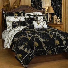 Bedroom or dorm room upgrade! Realtree Black Camo Twin Comforter Bedding Set -- Tractor Supply Co.