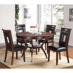 Transitional style at its finest: the Acme Furniture Oswell 5 Piece Round Dining Table Set brings a polished and intriguing ambiance to your dining. 48 Round Dining Table, Wooden Dining Set, 5 Piece Dining Set, Dining Table Chairs, Side Chairs, Dining Sets, Dining Area, Kitchen Dining, Acme Furniture