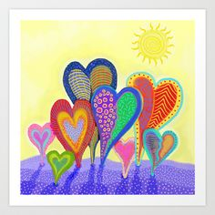 Planted Hearts Art Print by Darlene Seale - $18.00