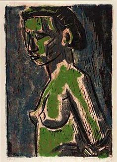 Pensive by Werner Drewes / woodcut
