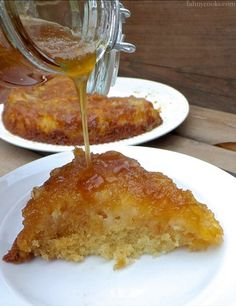 Cast Iron Skillet Pineapple Upside Down Cake; The interesting thing here is the pineapple butter sauce.