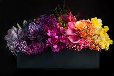 BLOOM by anuschka floral arrangement Rainbow Centerpiece, Centerpiece Flowers, Low Centerpieces, Masquerade Centerpieces, Balloon Centerpieces, Corporate Flowers, Rainbow Flowers, Colorful Flowers, Rainbow Wedding