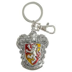 Harry Potter Gryffindor Crest Metal Key Chain Hot Topic ($8.90) ❤ liked on Polyvore featuring accessories, metal key chain, ring key chain, fob key chain, long key chains and keychain key ring