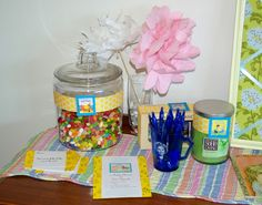 Lemonade and Lollypops: Golden Book Baby Shower Copycat.  Game- how many jelly bely's in the jar?