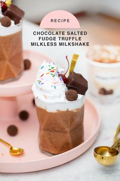 If you're on the hunt for a delicious and easy non-dairy dessert, then these chocolate salted fudge truffle milkless milkshakes are right up your alley! #recipes #icecream #milkshakes #dairyfree #chocolateshake