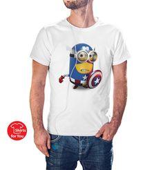 Captain America Minions T Shirt man - white
