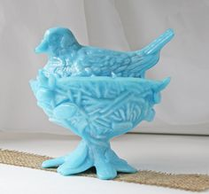 Vintage Westmoreland Blue Milk Glass Bird on Nest Candy Dish Dove. $60.00, via Etsy.