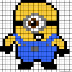 Minion perler bead pattern.  Could use for cross stitch.