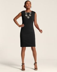 Chico's So Slimming By Chico's Jackie Dress #chicos Gotta have the little black dress.  It will work with the jackets I am packing and the geometric wrap!  Awesome!