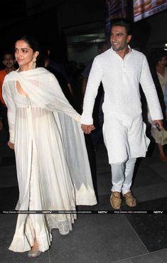 Actors Deepika Padukone and Ranveer Singh arrived hand-in-hand at the screening of their film Wedding Dresses Men Indian, Wedding Dress Men, Pakistani Dresses, Indian Dresses, Deepika Ranveer, Deepika Padukone Style, Ranveer Singh, Aishwarya Rai, Shraddha Kapoor