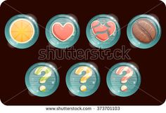 Icons for games in caramel set.Vector design for app user interface. Lemon, question mark, heart, broken heart #assets #game #vector #UI #cartoon #casual #awesome #magic #icon #gameicon #art #graphics #colorful #illustration #amazing #pretty #drawing #picture #artist #sketchbook #beautiful #gallery #creative #gamedev #chuchilko #candy  #caramel #juicy #Match3