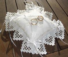 WEDDING PILLOW Ring White Silk Hardanger by SofisCreation on Etsy, €32.00