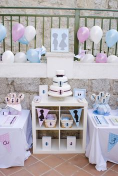 Pretty silhouette dessert table for a TWIN themed Baby-Shower.
