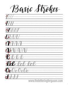 FREE Brush Calligraphy Worksheet! Learn the basics of brush calligraphy! #brushcalligraphy #brushpen #moderncalligraphy #handlettered #diy #learnsomethingnew #letteringnewbie #handlettering #free #freeworksheet #calligraphy Lettering Brush, Brush Lettering Worksheet, Lettering Guide, Hand Lettering Practice, Hand Lettering Alphabet, Lettering Styles, Brush Calligraphy Alphabet, Uppercase Alphabet, Chalk Lettering
