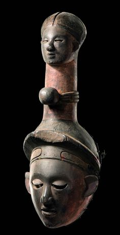 Africa | Face mask from the Ibibio people of Nigeria | Wood, paint
