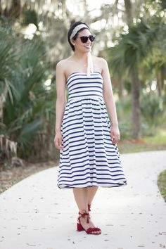 RD's Obsessions: Headbands of Hope, Fashion For Good, Headbands of Hope, cancer awareness, headbands for cancer patients, Striped midi dress, fringe red sandals