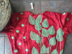 Red silk cotton with leaves embroidery