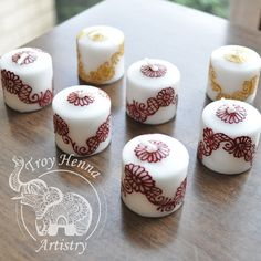 Votive Henna Candles  Hand-Painted Unscented by TroyHennaAristry