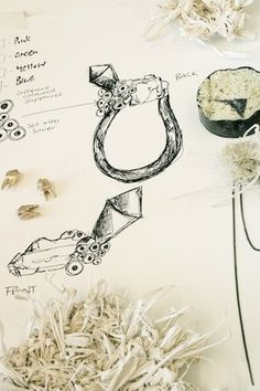 Ros Millar jewellery design sketches - ring drawings, jewellery sketchbook Sea Glass Jewelry, Jewelry Art, Jewellery Sketches, Jewelry Sketch, Jewellery Designs, Jewelry Design Drawing, Beautiful Sketches, Jewelry Illustration, Body Adornment