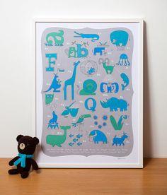 Moderne Kinderzimmer Kunst tierische Alphabet Print in von gumo