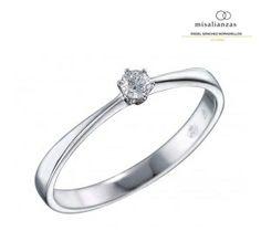 #Solitario de compromiso de oro blanco #anillo #boda #diamante