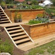 38 Amazingly Green Front-yard & Backyard Landscaping Ideas Get Basic Engineering, Home Design & Home Decor. Amazingly Green Front-yard & Backyard Landscaping Ideasf you're anything like us, y Sloped Backyard Landscaping, Sloped Yard, Landscaping Ideas, Steep Hillside Landscaping, Backyard Ideas, Terraced Landscaping, Terraced Backyard, Pool Ideas, Hillside Garden