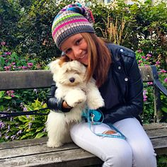 Slouchy beanie by BautaWitch, modelled by daughter and puppy. Crochet Mittens, Crochet Hats, Slouchy Beanie, Catania, Crochet Squares, Hand Warmers, Knitting Patterns, To My Daughter, My Design
