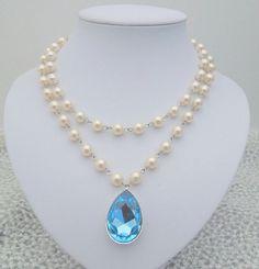 Bridal Statement Necklace Ivory Swarovski Pearls by DivineJewel, $90.00