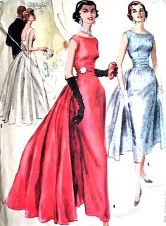 1950s McCalls Pattern 3466 LOVELY Slim Evening Gown Wedding Party Dress 2 Lengths, Removable Panels and Cummerbund, Low Back Bust 30 Vintage Sewing Pattern