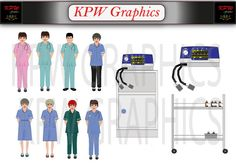 Hospital Staff and Accessories Pack 1 including 8 by KPWgraphics