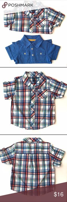 🚀 NWOT Old Navy Button Up & Polo Shirt 🚀 NWOT Old Navy Short sleeve button up in multi colors plaid and button on the sleeves. And short sleeve blue cotton polo style tee shirt with two front pockets. These have never been worn or washed just missing tags. 🚀From my nephews closet, smoke and pet free home🚀 Old Navy Shirts & Tops Button Down Shirts