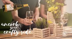 Sutter Home invites you to get creative and uncork your crafty side with this DIY cork flower vase project. It will add handcrafted flair to your décor and makes for a great conversation piece wh. Wine Cork Art, Wine Bottle Art, Wine Corks, Wine Bottle Crafts, Wine Craft, Wine Cork Crafts, Flower Vase Making, Flower Vases, Flowers