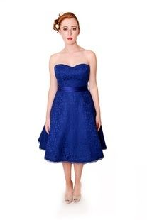 EMBM14 - Strapless lace sweetheart neckline A-line short bridesmaids dress