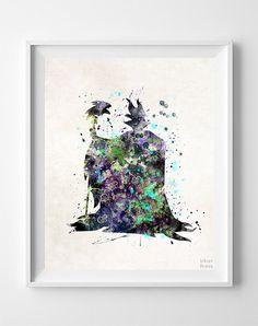 Maleficent Print, Watercolor Art, Disney Poster, Baby Gift, Kid Room Decor, Wall Decor, Office Wall Decor, Bedroom Art, Christmas Gift