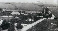 Dnes již neuvěřitelný pohled z Vinohradské vodárny k Žižkovu kolem roku 1890. Pro lepší přehlednost jsem doplnil popisky. Prague, Country Roads, History, Movie Posters, Photography, Retro, Historia, Photograph, Film Poster