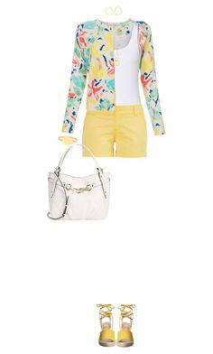 """""""White Tank and Yellow Shorts"""" by ittie-kittie on Polyvore"""