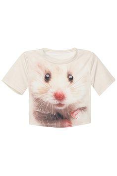ROMWE   Mouse Face White Midriff T-shirt, The Latest Street Fashion #Romwe