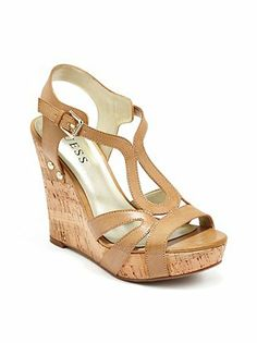 a037241ed16 Guess platform cork wedge strappy heels in EUC.