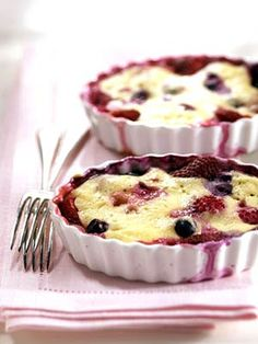 Clafouti (kla-foo-TEE), is a French fruit dessert topped with a batter and baked. Cherries are the classic fruit of choice, but you can use most any fruit.