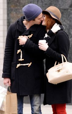 Celebrity PDA: Andrew Garfield and Emma Stone Walk and Kiss in NYC on January 8, 2012