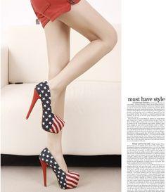 Elegant Lady Girl Women Canvas Fashion Show US Flag Stiletto High heeled Shoes | eBay
