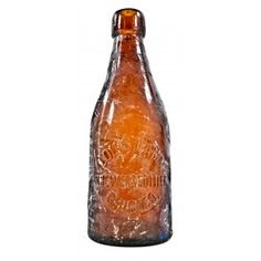 original and intact american antique turn of the century c.1897-1898 privy dug medium amber glass weiss style blobtop beer bottle manufactured for louis lamm in chicago, il.