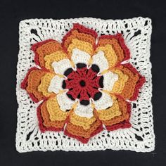 Tiger Lily square from A Block A Day by Tracey Lord. I used this as the basis for my Sunshine Flower Blanket. Check out my progress on my blog