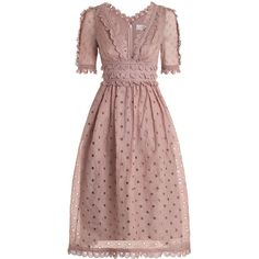 ZIMMERMANN Winsome Tea Midi Dress ($980) ❤ liked on Polyvore featuring dresses, embroidered midi dress, tea dress, brown midi dress, sleeved dresses and deep v neck dress