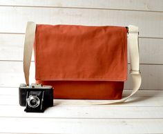 Messenger Bag // Brick Twill // ikabags on Etsy