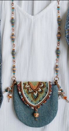 Textile Jewelry, Fabric Jewelry, Boho Jewelry, Beaded Jewelry, Fashion Jewelry, Beaded Necklace, Denim Purse, Embroidery Bags, Hippie Bags