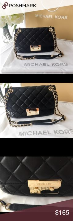 Michael Kors Black Quilted Sloan Leather Handbag! Michael Kors Black Quilted Sloan Leather Handbag! In great condition with no flaws inside the bag, there are a few minor scratches on front clasp, but not too noticeable. Rare! Bought at the Flagship store Rockefeller Plaza in NYC in 2016. Looks just like a Chanel 2.5 quilted bag! Adjustable strap. Can be a crossbody or double arm bag. Michael Kors Bags Shoulder Bags
